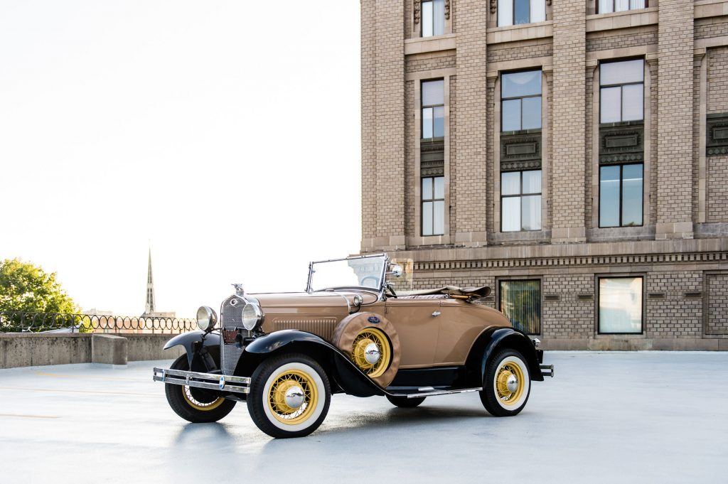 1929 Ford Model A Roadster on display at GR Auto Gallery.