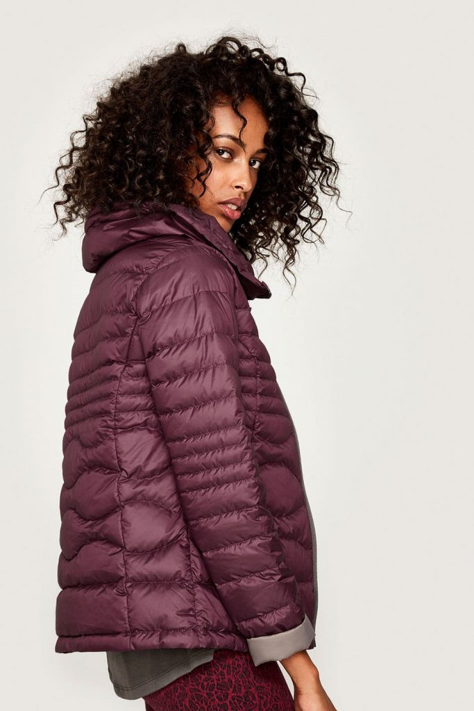 Packable Levi dark berry jacket available at Lole.