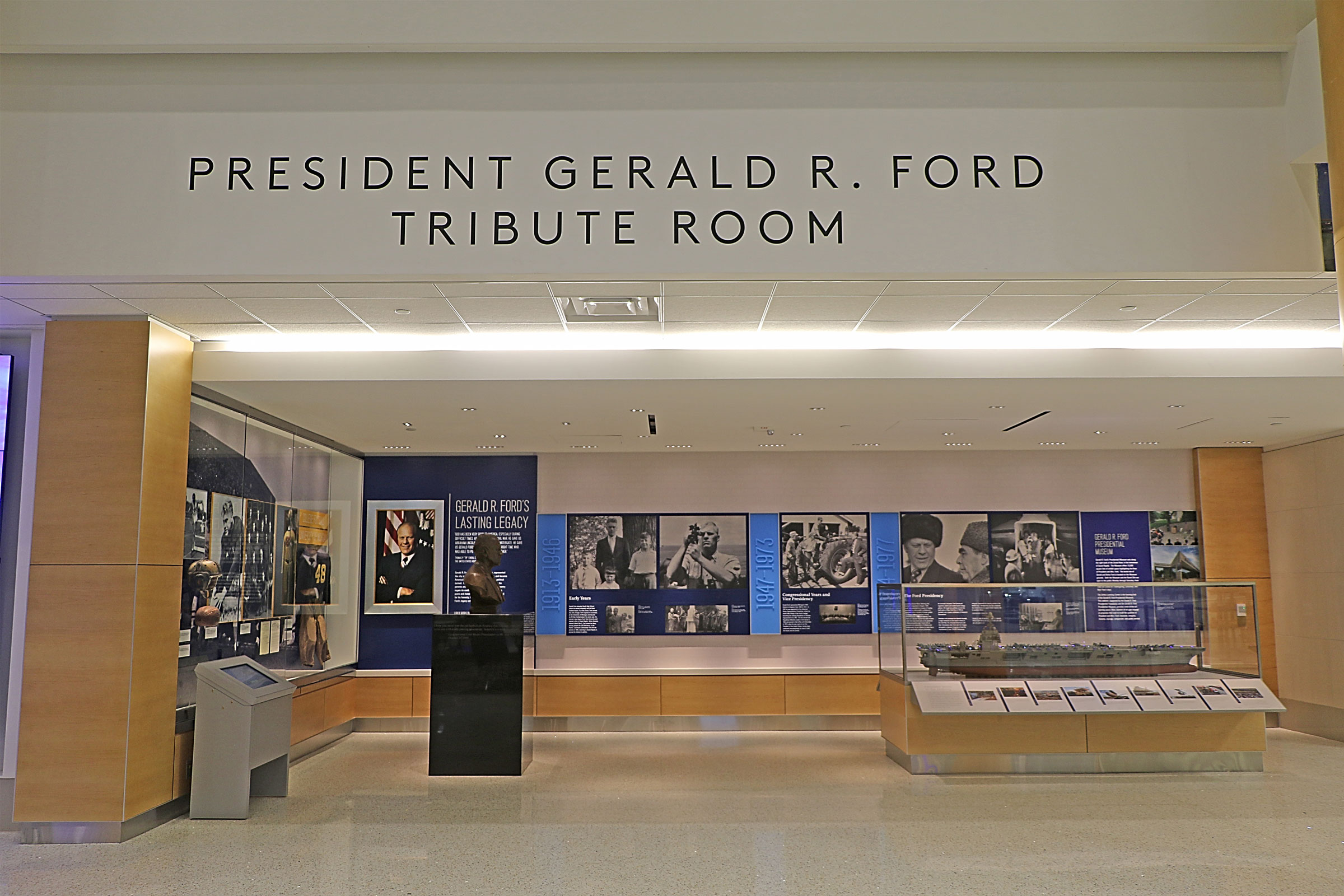 Gerald R. Ford International Airport opens tribute room to Gerald R. Ford.