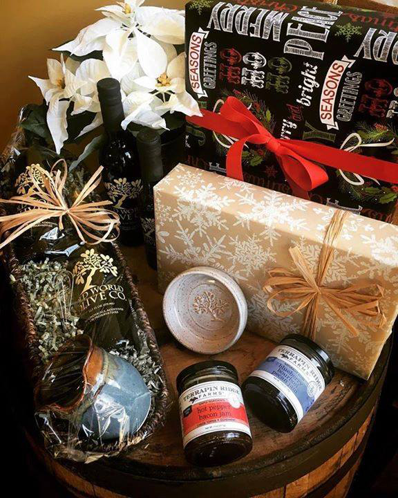 The Downtown Market is filled with local holiday gift options. Gift basket from Old World Olive Co. pictured.