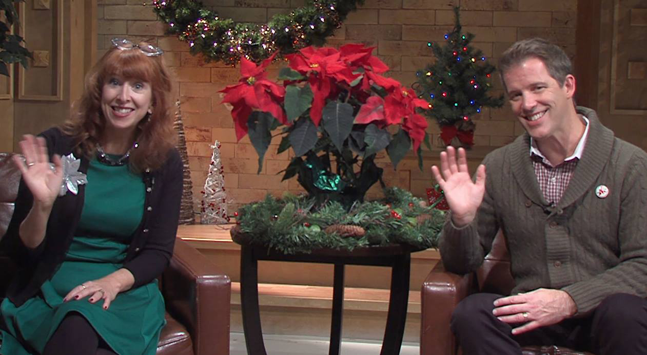 Patrick Ziegler & Teresa Thome on set for Holiday Memories Grand Rapids.