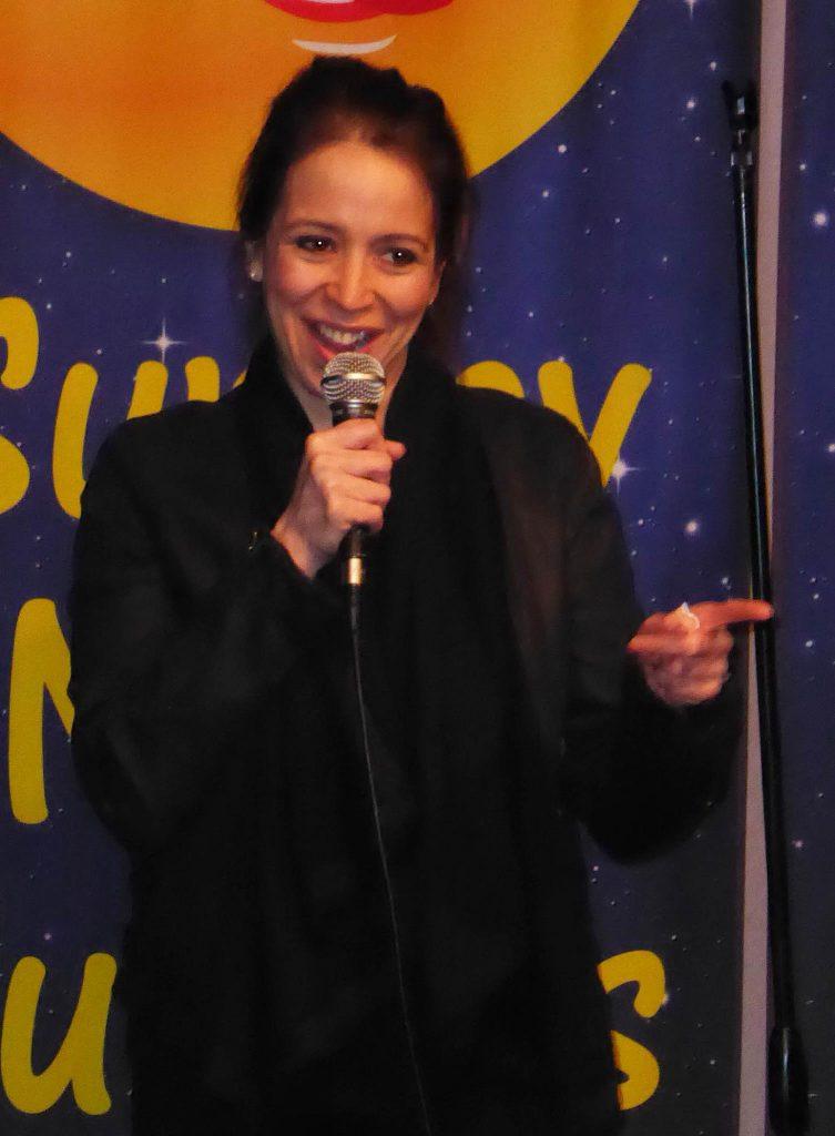 Nicole Majdali Ramirez performing at Sunday Night Funnies