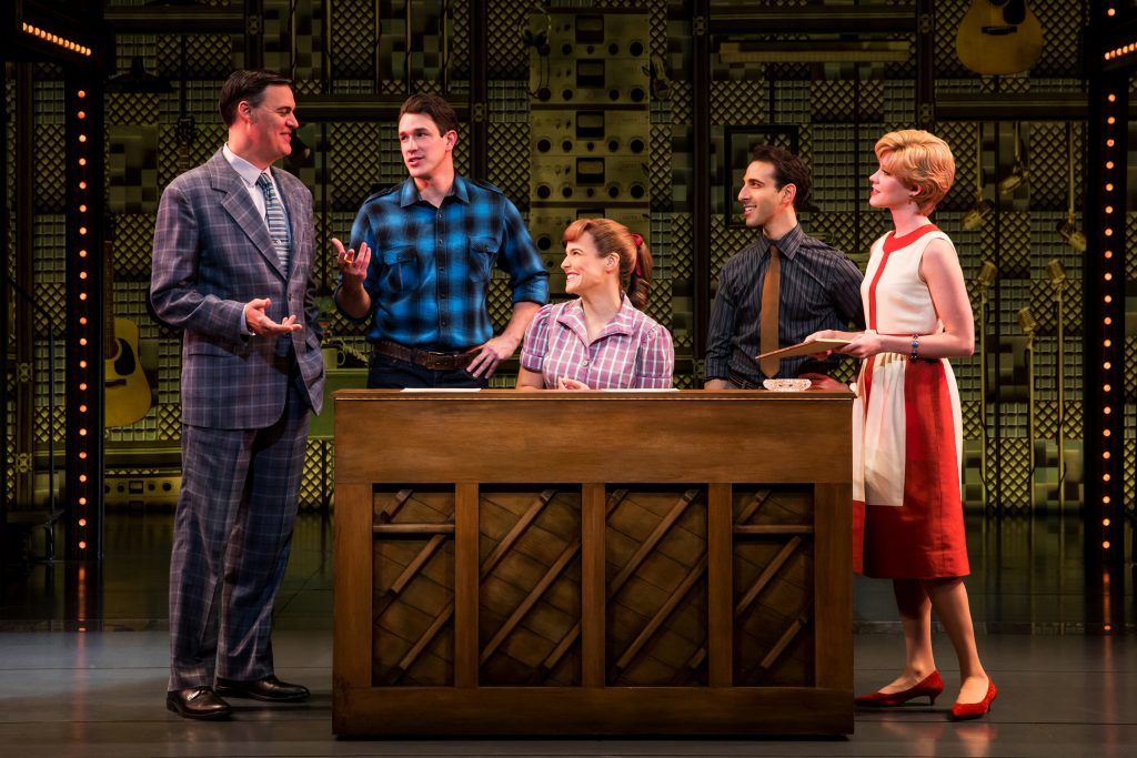 """Four Friends. (l to r) James Clow (""""Don Kirshner""""), Andrew Brewer (""""Gerry Goffin""""), Sarah Bockel (""""Carole King""""), Jacob Heimer (""""Barry Mann"""") and Sarah Goeke (""""Cynthia Weil""""). Photo by Matthew Murphy"""