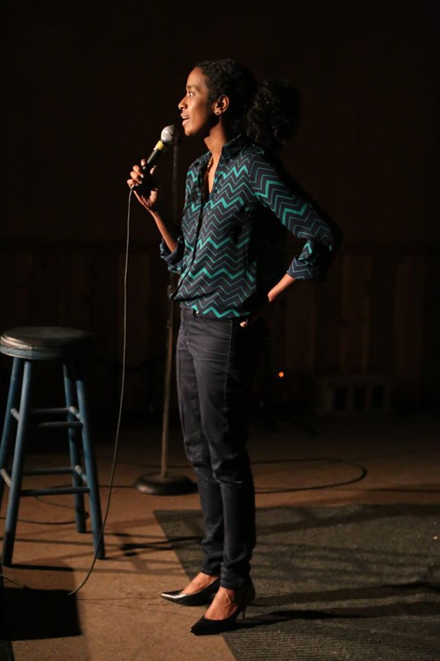 Nardos Osterhart performs stand up around Grand Rapids.