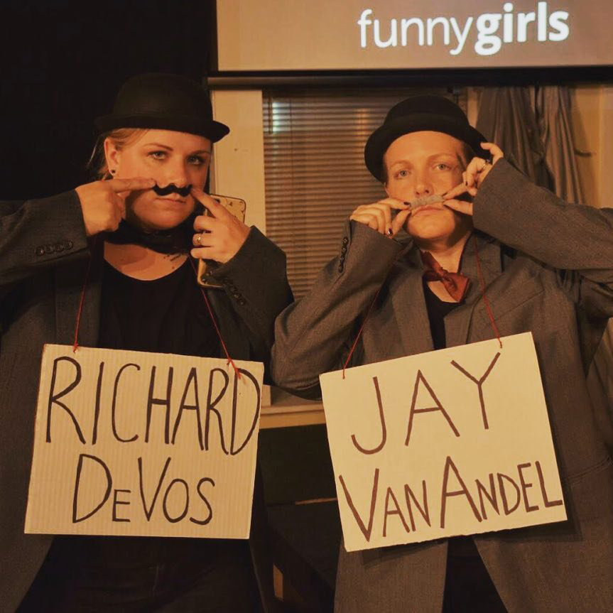 Funny Girls improv troupe takes on Grand Rapids businessmen & philanthropists Jay VanAndel & Richard DeVos