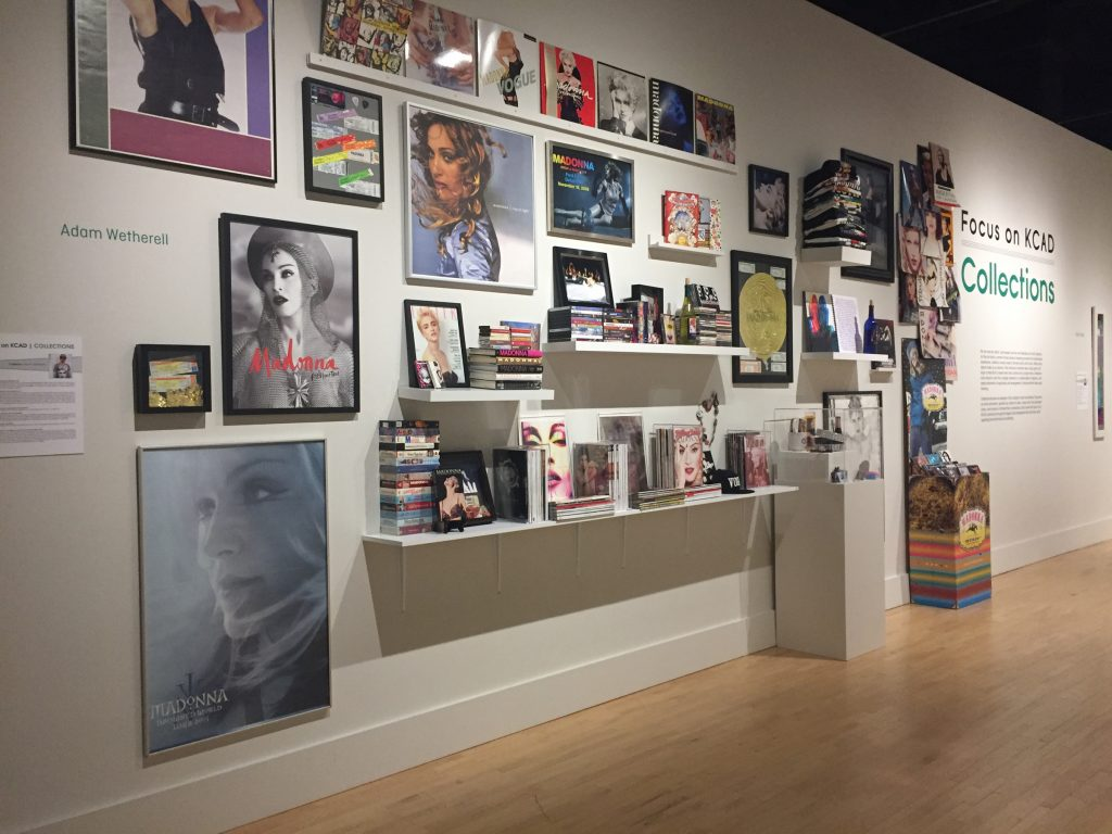 Adam Wetherell, head of HR at KCAD, has his collection of Madonna memorabilia on display.