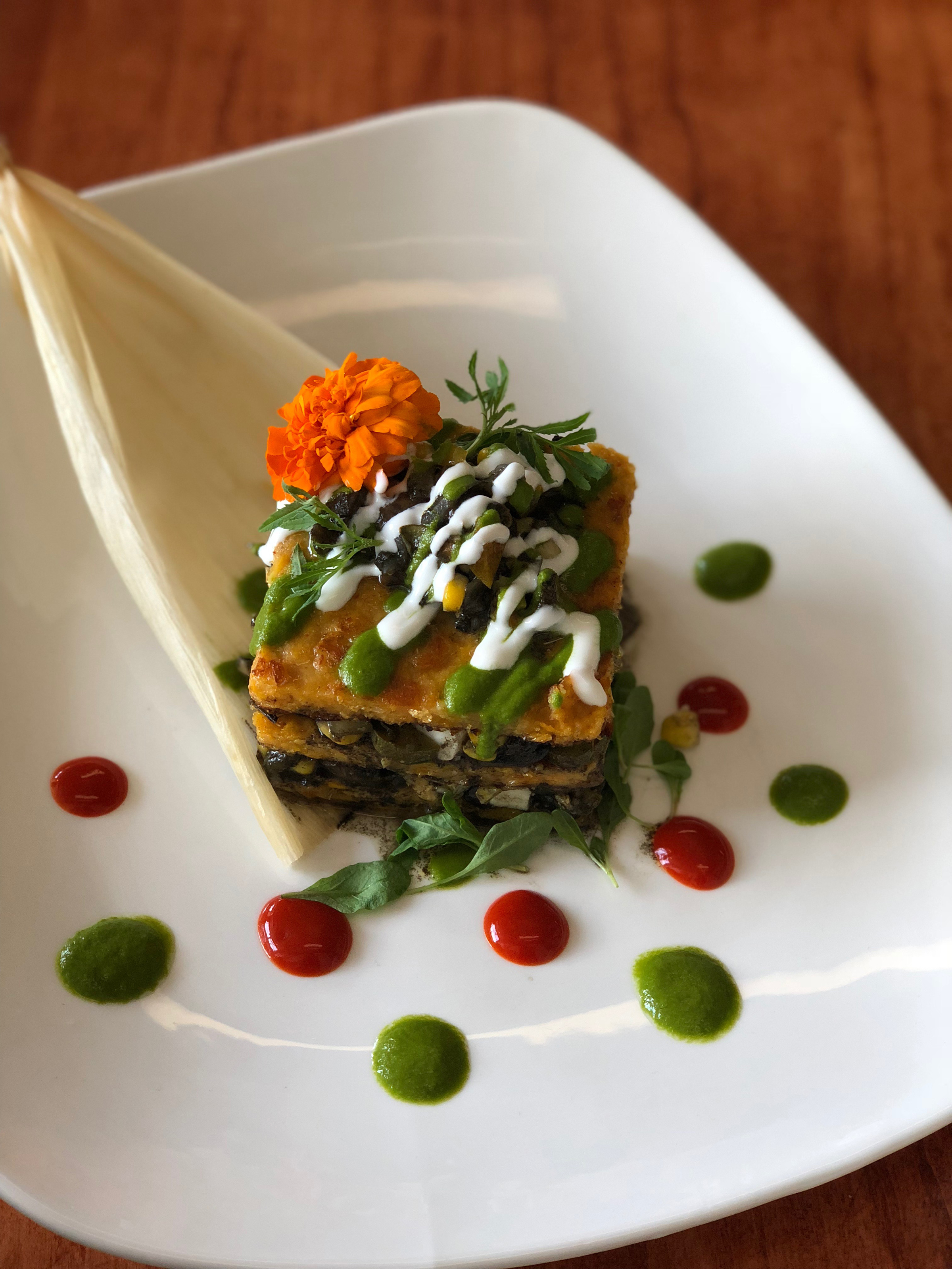 cuitlacoche tamal stack