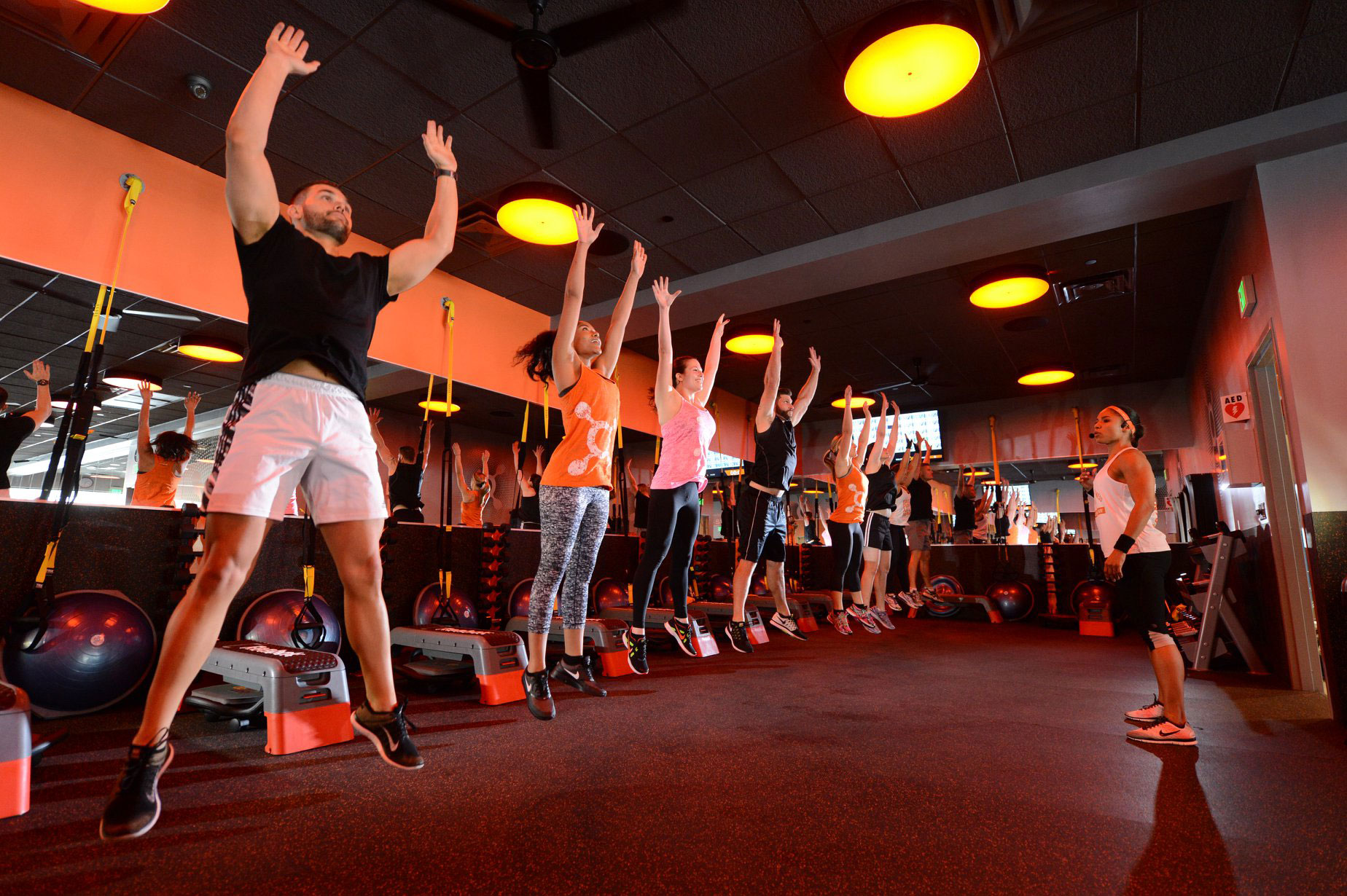 Orange Theory Fitness group class.