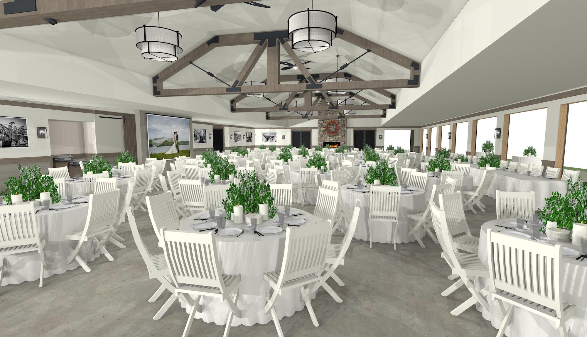 The Union Pavilion at Railside Golf Club partial interior rendering