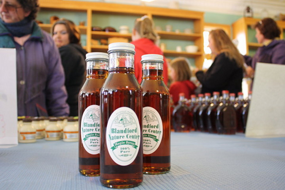Blandford Nature Center maple syrup bottles