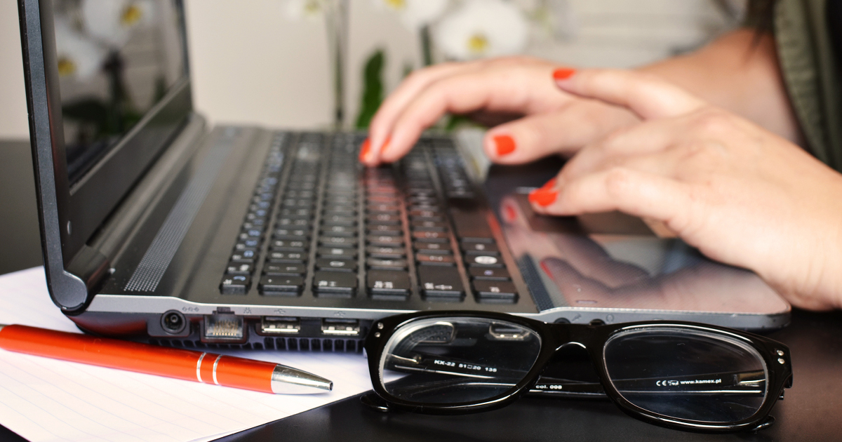 writer at laptop