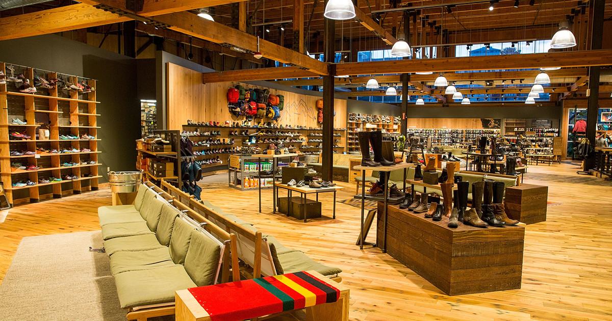 REI Seattle store interior footwear section