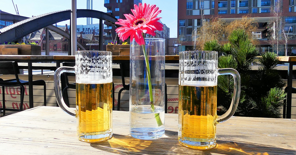 beer glasses on table outside deck