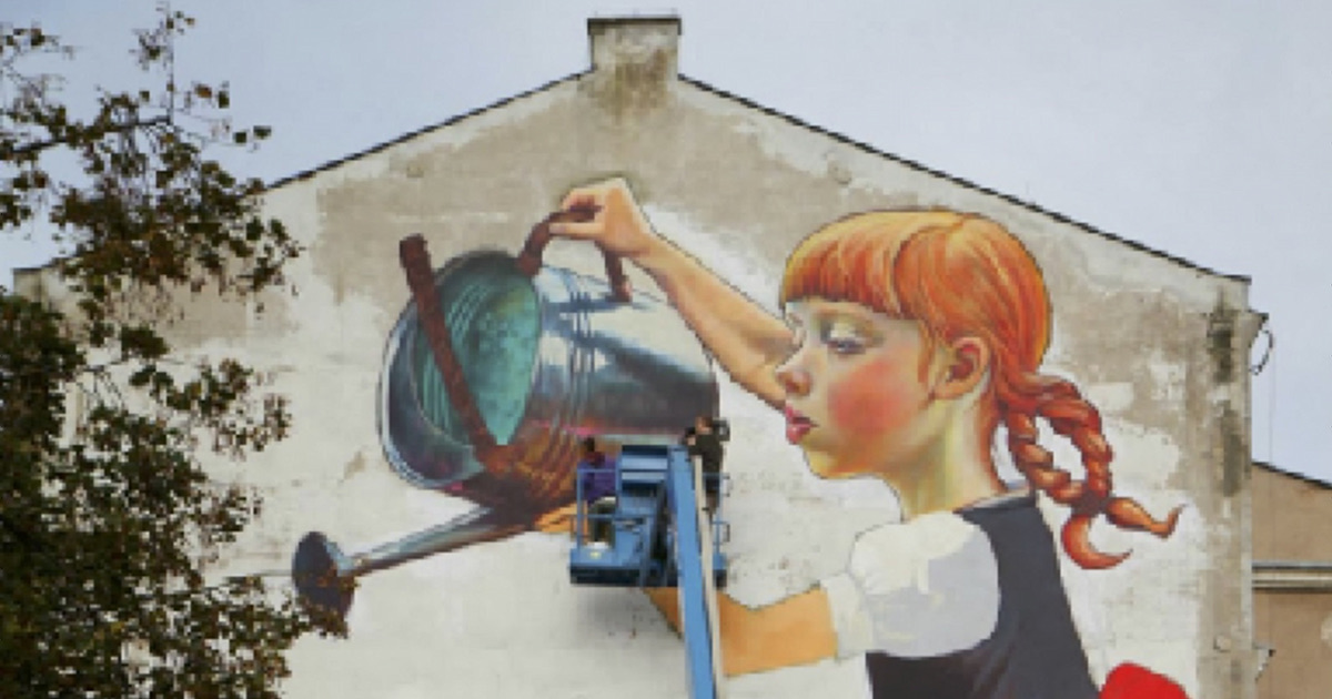 partial The Legend of Giants mural by Natalia Rak