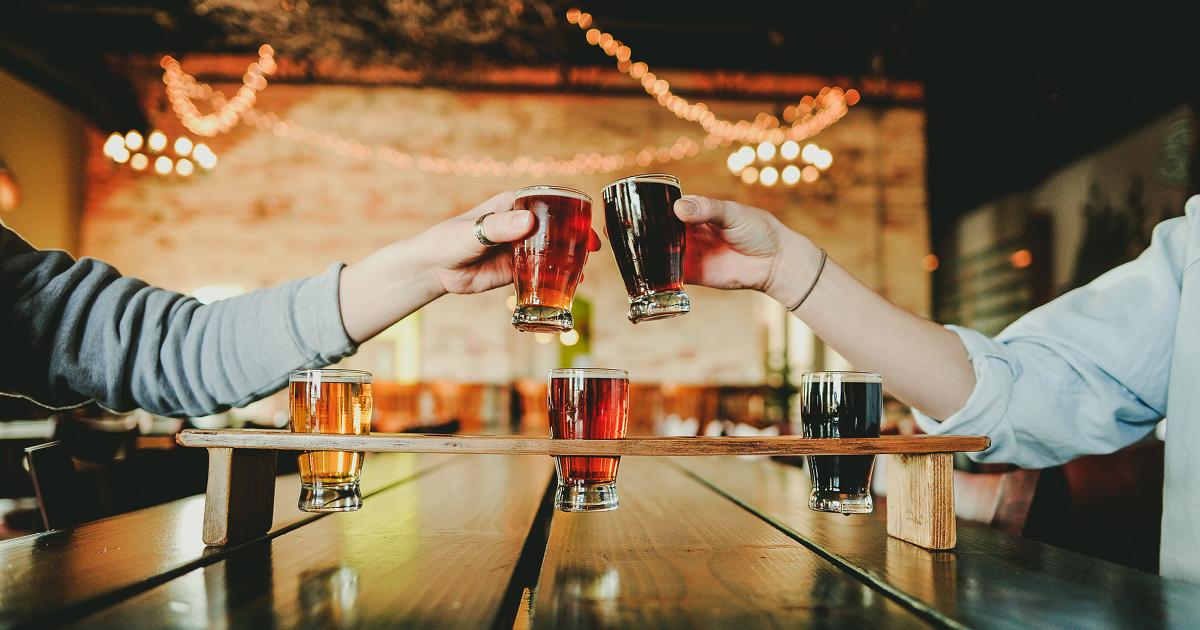 Harmony Brewing Company beer glass flight toast