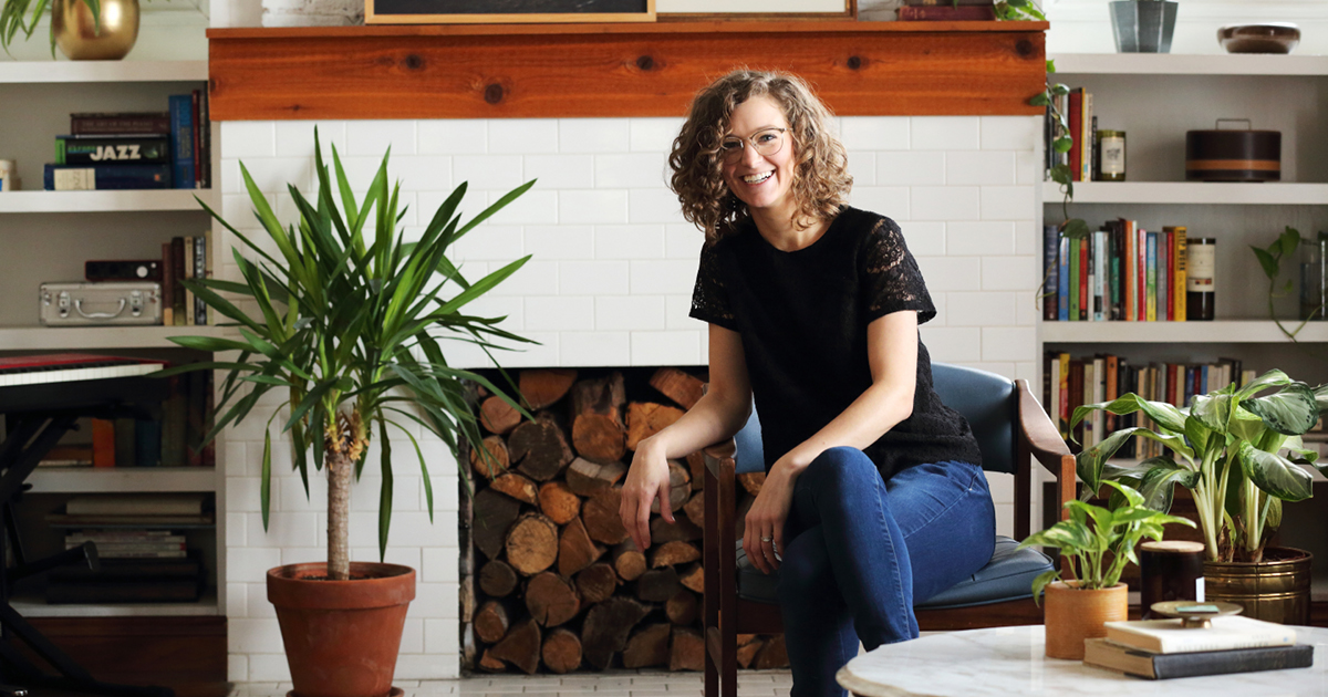 Lauren Figueroa at home with her plants. Photo by Johnny Quirin