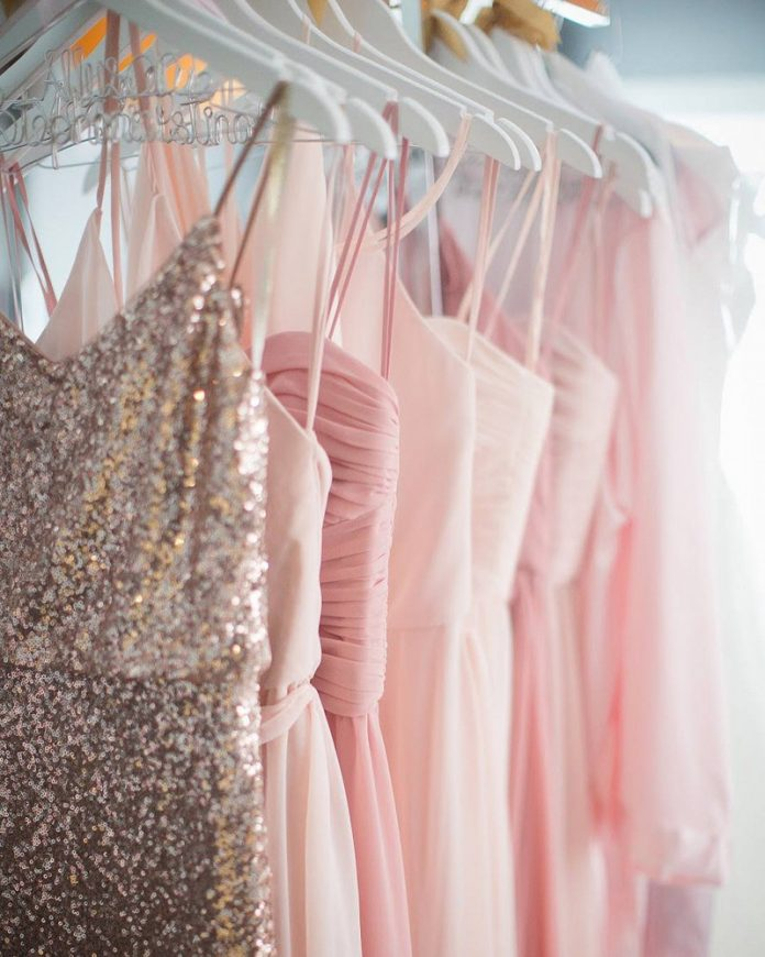 Bella Bridesmaids dresses on rack