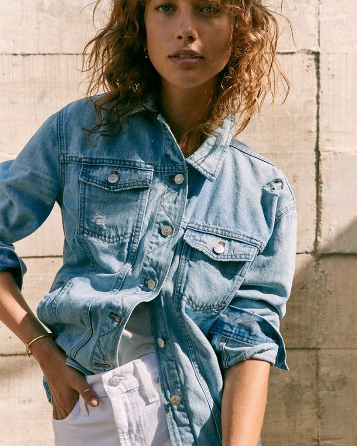 Madewell female model oversized jean jacket