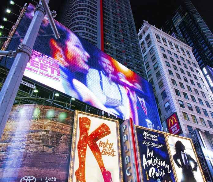 New York Times Square Broadway theater billboards and signs