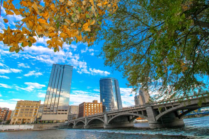 fall leaves downtown Grand Rapids
