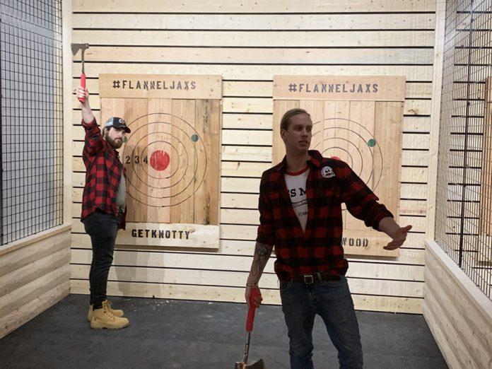FlannelJax's ax-throwing range lane