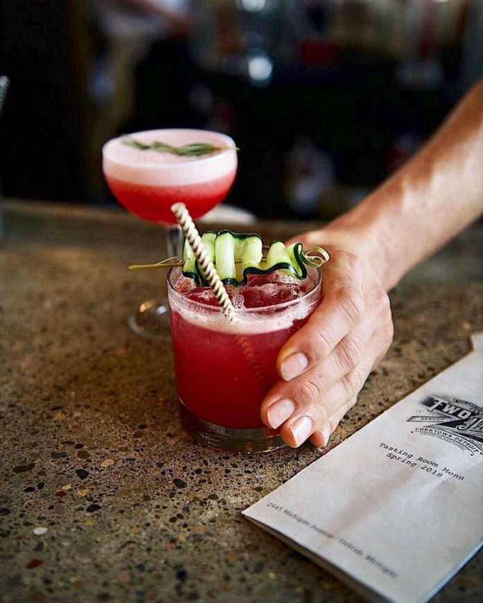 Two James Spirits cocktails on bar