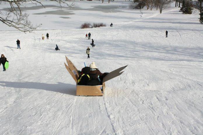 WinterWest Crazy Cardboard Sled Race